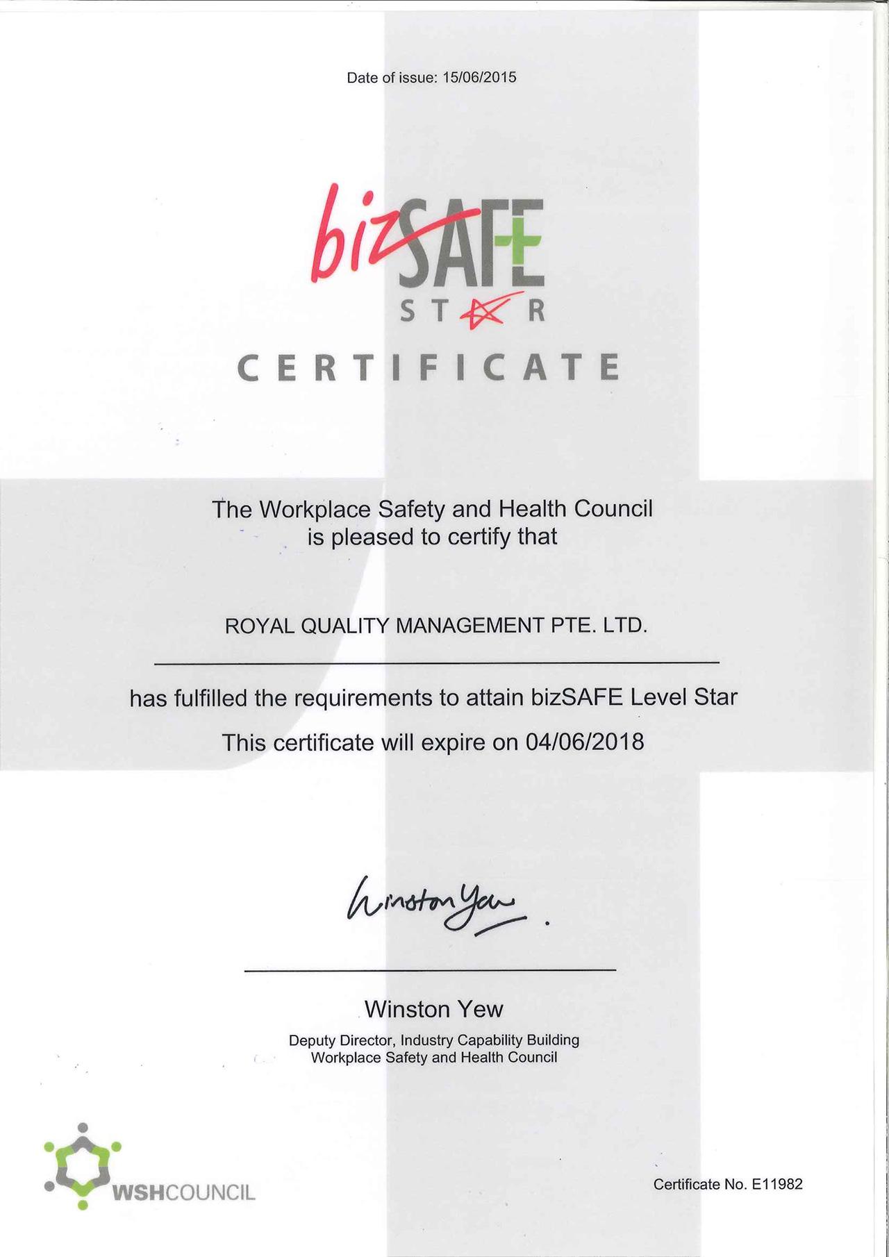Certificates 2007 2008 Bizsafe