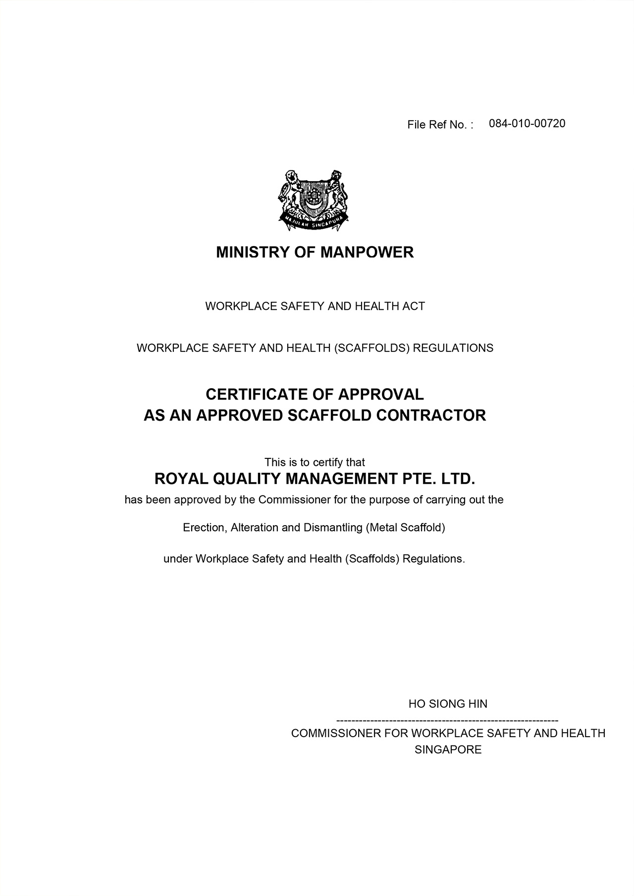 Certificates APPROVED SCAFFOLD CONTRACTOR